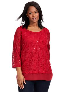 Red Amore Mixed Media Top by JM Collection Available in sizes 1X-3X