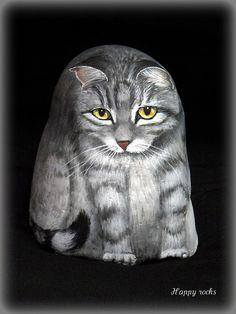 Cute cat painted rock!