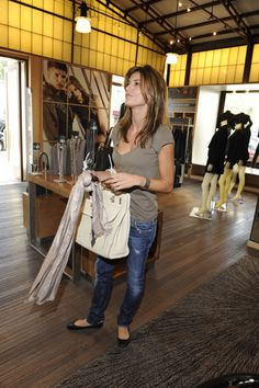 Elisabetta Canalis spotted shopping at Armani Exchange