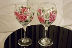 Hand-painted Wine Glass Pink Hydrangeas Green Leaves Hand Painted Glassware Stemware Hand Painted Wine Glasses (painted by Helen Krupenina)