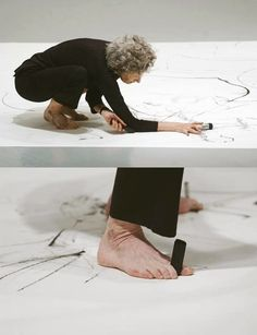 Are you going to start painting like this Jeff? Trisha Brown creating a performative drawing, Philadelphia Museum of Art, Courtesy Trisha Brown Dance Company Drawing Machine, Burn Out, Philadelphia Museum Of Art, Brainstorm, Art Techniques, Artist At Work, Installation Art, Art Lessons, Contemporary Art