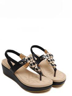 0c92177a9928 Comfortable Slingback Embellished Thong Sandals T Strap Sandals