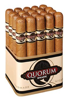 QUORUM Shade Cigars ~ J.C. Newman Cigar Co. introduces a welcome addition to their very popular QUORUM line of bundled cigars ~ the QUORUM Shade. Featuring a mild, flavorful Connecticut Shade wrapper and Nicaraguan binder/filler, the handmade QUORUM Shade cigar is the one you'll grab on the way out to play golf, mow the lawn, or barbeque because it's smooth, enjoyable, and priced to smoke at the drop of a hat.