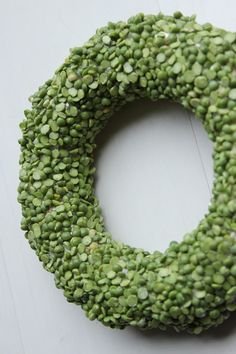 Split Pea Wreath - I can see this is a bright red bow and red ribbon hanger for Christmas...beautiful!