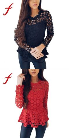 973002ffd7e Women flowers lace blouses ladies causal long sleeve tops sexy hollow o  neck blouse shirt tops blusas feminina 2018 new