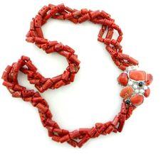Collana corallo rosso chiusura arg. e perle - CO05