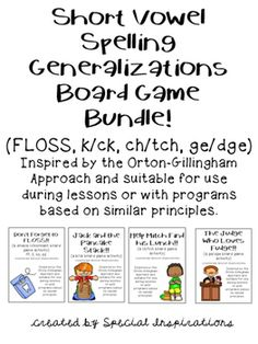 Inspired by the Orton-Gillingham approach and suitable for use during lessons or with programs based on similar principles. Includes rule posters for ch/tch and ge/dge.A great review and reinforcement of the short vowel spelling generalizations!An excellent addition to your tutorial sessions, literacy centers, and/or phonics/spelling lessons!*Also sold individually*Your feedback is greatly appreciated!