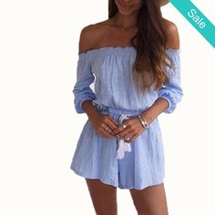 Off Shoulder 3/4 Sleeve Romper -                             Off Shoulder 3/4 Sleeve RomperMaterial: Cotton,PolyesterFabric Type: Broadcloth                          - On Sale for $24.00 (was $29.00)
