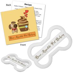 Pet owners are looking for a homemade dog treat alternative. Keep your healthy pet treat business info right where your customers will see it & use it. Our custom printed dog bone shaped cookie cutters are the perfect promotional gift for this. Complete with a branded recipe card & imprinted dog treat cutter to advertise your company! The stock recipe on the card is for a healthy, homemade peanut butter & bacon dog treat. Or, supply your own recipe for a truly customized product!
