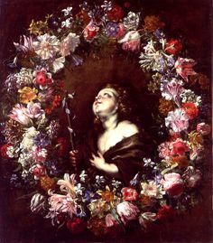 Abraham Brueghel (1631-1690)  —  St. John the Baptist by a wreath  (845x1000)