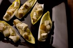 Pear and Feta Bites - Elegant Snacks and Drinks for Your Oscars Cocktail Party - Pictures - Chowhound Endive Appetizers, One Bite Appetizers, Finger Food Appetizers, Finger Foods, Appetizer Recipes, Party Appetizers, Party Nibbles, Tapas Party, Vegetarian Appetizers