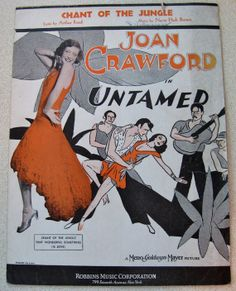 1929 Joan Crawford Chant of the Jungle Sheet Music from MGM Movie Untamed Piano Voice Ukulele Chord