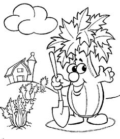 cartoon vegetable coloring pages