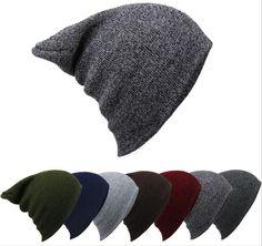Men Outdoor Sports Knit Beanie Cap Ski Crochet Slouch Hat Oversized Winter Warm