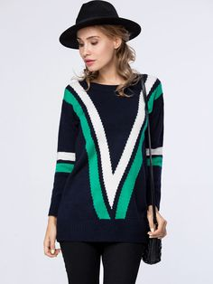 Stylish Striped Round Neck Color Block Sweater