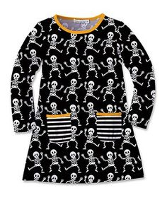 Black & White Skeleton Shift Dress - Toddler & Girls