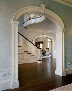 by Hilton Vanderhorn Architects in Connecticut. Wonderful mouldings, millwork, and large and airy scale without seeming cavernous. Classical Architecture, Architecture Details, Georgian Architecture, Beautiful Interiors, Beautiful Homes, Home Room Design, House Design, House Stairs, Entry Foyer