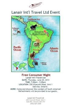 Thinking about Travelling to South America? Feel free to join us for this informative consumer night. Please comment below if you'd like to attend. Galapagos Islands, Caribbean Sea, Atlantic Ocean, South America, Travelling, Join, The Unit, Events, Feelings
