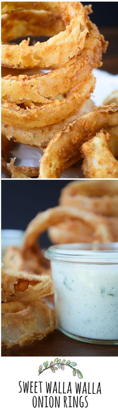 The best, crispiest onion rings imaginable, with a tangy Basil Buttermilk sauce!