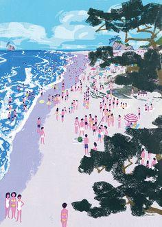 해변, bird's eye view, 오밀조밀, 심플