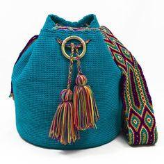 Mochila Wayuu azul turquesa