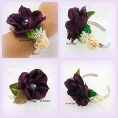 Corsage Wrist Corsage Mother of the Bride in Plum by SolBijou, $85.00