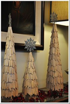 DIY Holiday: Craft Stick Trees Christmas tree Popsicle Stick Craft for kids, DIY Popsicle Stick snowflake Ornaments in 2013 Unusual Christmas Trees, Stick Christmas Tree, Alternative Christmas Tree, Christmas Tree Themes, Noel Christmas, Christmas Ornaments, Snowflake Ornaments, Xmas Trees, Christmas Ideas