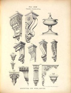 Designs for cast iron consoles, corbels and an urn (Furniture Designs Sketches) Architecture Mapping, Classic Architecture, Architecture Drawings, Gothic Architecture, Historical Architecture, Ancient Architecture, Architecture Details, Sustainable Architecture, Landscape Architecture