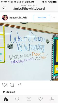 Walt Disney Wednesday - Favorite Disney Movie and Why? #whiteboard #thoughtinspiration