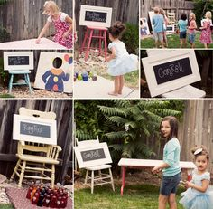 Carnival games - love the chalk board signs... will have to make some of those!