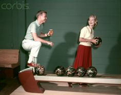 1950s Couple In Bowling Alley Woman Holding Ball Man With Glass Of Beer I