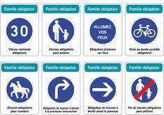 Jeu des 5 familles de panneaux de signalisation routière : famille obligation