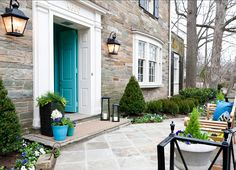 BARRY DIXON D. Design House 2014 - The Washington Post Love this front door color Pond Shimmer by Paints from the Barry Dixon Color Collection. Front Door Paint Colors, Painted Front Doors, Front Stoop, Front Porches, Front Entry, Entry Doors, Turquoise Door, Aqua Door, Blue Doors