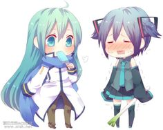 Miku dressed as Kaito and Kaito dressed as Miku
