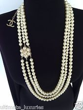 2015 CHANEL TOP MULTI-STRAND ICONIC PEARL CC CAMELLIA CHARM DRESS NECKLACE NEW