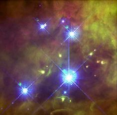 "Trapezium cluster in the Orion nebula. The four brightest stars form a trapezium shape. The very brightest star of them is Theta1 Orionis C, which is actually a close binary. (Credit: John Bally, Dave Devine, and Ralph Sutherland, STScI, NASA) Mona Evars"" http://www.bellaonline.com/articles/art300366.asp"
