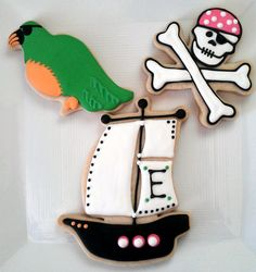 I have returned from a very wonderful, un-relaxing, but very fun 2 weeks of vacation, and by vacation I mean 2 weeks free of my. Pirate Cookies, Fun Cookies, Sugar Cookies, Kids Party Themes, Party Ideas, Pirate Party, Halloween Crafts, Cookie Decorating, Boy Birthday