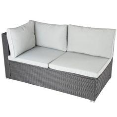 Miadomodo Polyrattan Lounge Corner Sofa 2-Seater Outdoor Garden Patio Wicker Rattan Furniture (Grey)