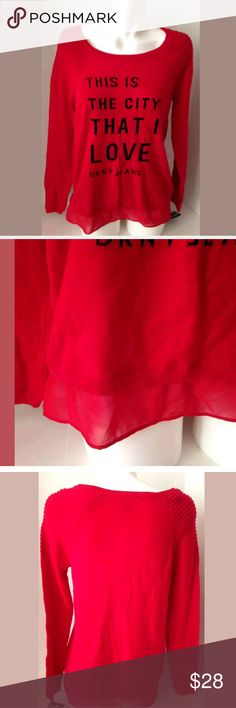 Last one !!!NWT DKNY red layer look sweater Adorable red sweater!!! Dkny Sweaters Crew & Scoop Necks