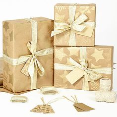 Gold Stars Brown Christmas Wrapping Paper