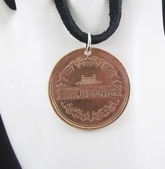Japanese Coin Necklace 10 Yen Coin Pendant by AutumnWindsJewelry