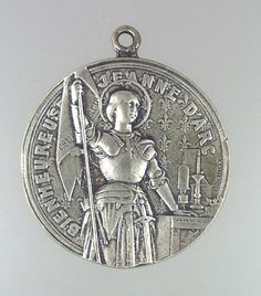 Antique huge french sterling silver religious medal pendant st joan large antique french saint st joan of arc sterling silver medal relic banner aloadofball Gallery