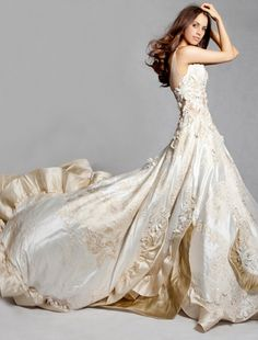 Luxurious Cream and Ivory Marie Antoinette Inspired Wedding Dress