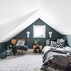 obsessed with this small but modern boho bedroom. Small space solutions will be Boho Bedroom bedroom Boho Modern obsessed Small Solutions Space Small Loft Bedroom, Attic Bedroom Designs, Attic Loft, Loft Room, Attic Design, Trendy Bedroom, Extra Bedroom, Attic Office, Master Bedroom