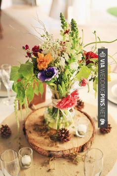 Love this - Madera y flores, precioso centro de mesa para boda rústica.  Wood.   CHECK OUT MORE COOL IDEAS FOR TASTY Centros de Mesa Para Boda OVER AT WEDDINGPINS.NET   #CentrosdeMesaParaBoda #CentrosdeMesa #boda #weddings #centerpieces #weddingcenterpiece #vows #tradition #nontraditional #events #forweddings #iloveweddings #romance #beauty #planners #fashion #weddingphotos #weddingpictures