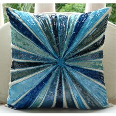 Decorative Throw Pillow Covers Accent Pillow Couch Toss Sofa Pillows 18x18 White Silk Pillow Case Embroidered with Blue Sequin Aqua Illusion...