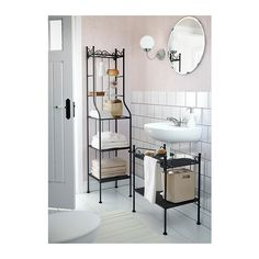 Small Bathroom: shelves with a small footprint. RÖNNSKÄR Shelving unit (IKEA): Removable shelves which are easy to clean.