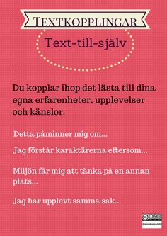 Textkopplingar Teaching Reading, Learning, Learn Swedish, Swedish Language, Information Literacy, Classroom Tools, Motivation Goals, Literacy Skills, Aktiv