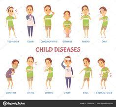 Set di caratteri di malattie figlio — Vettoriali Stock © macrovector  #135866474