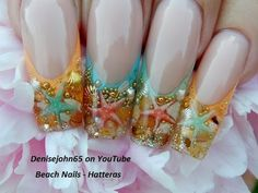 Starfish Ocean Pearl Nails ----( Gel )---- With Narration - YouTube